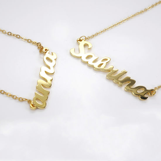 Personalized Custom Name Charm Pendant Necklace 14K Solid Gold Baby Necklace