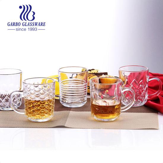Wholesale Engraved Diamond Style 8oz Glass Tea Cup with Handle Coffee Mug