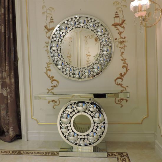 Rose Gold Mirrored Furniture Console, Rose Gold Mirrored Furniture