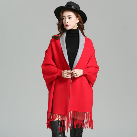 Temperament Tasseled Bat Sleeve Knitted Cardigan Shawl Jacket