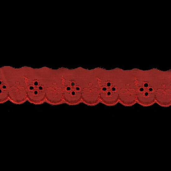 1 Inch Red Poly Cotton Scalloped Eyelet Lace Trim pictures & photos