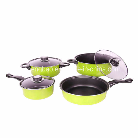 Yellow Color Carton Steel Non Stick High Quality Cookware Set