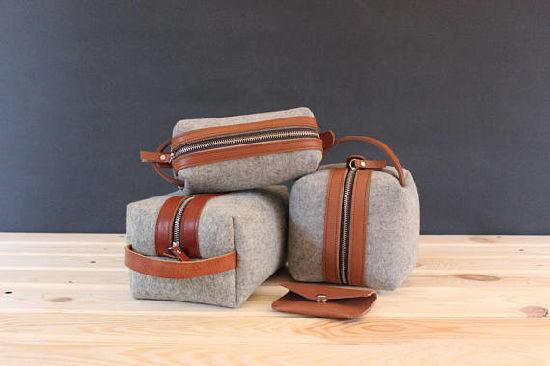 china wool felt toiletry bag monogrammed dopp kit groomsman