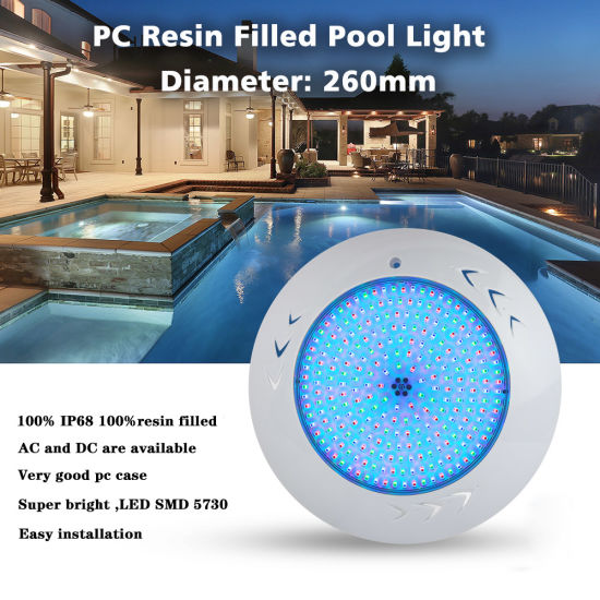 High Quality 55watt RGB PC Resin Filled Wall Mounted Swimming Pool Lights with CE RoHS IP68 Reports