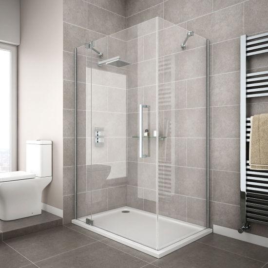 Bathroom Modern Simple Clear Tempered Glass Sliding Door Shower Enclosure