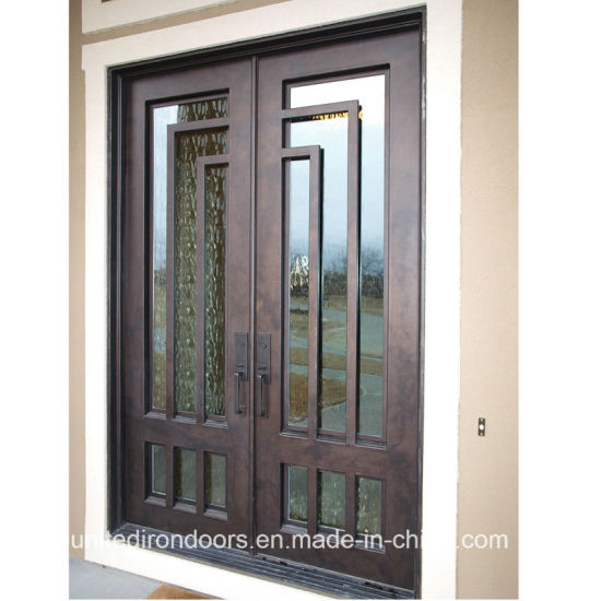 China Modern Square Top Wrought Iron Front Door Uid D077 China