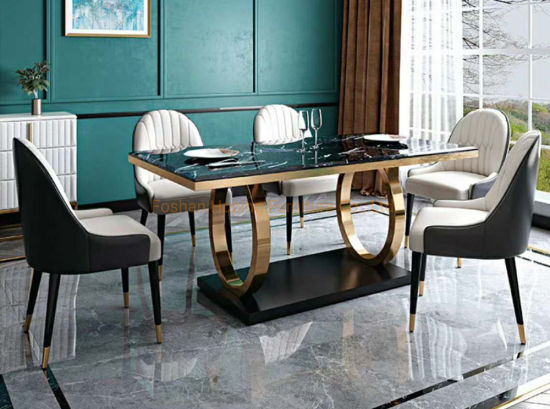 China Modern Living Room Rectangle Marble Top 1 8 Seats White Square Dining Table Set With Leather Chair China Rectangle Table White Cake Table