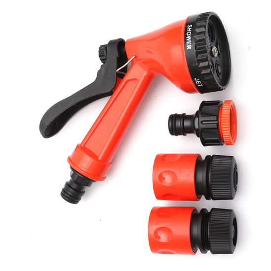 Plastic Four or Five Pattern Hose Nozzle Set with 1/2- or 3/4-Inch Hose Connector
