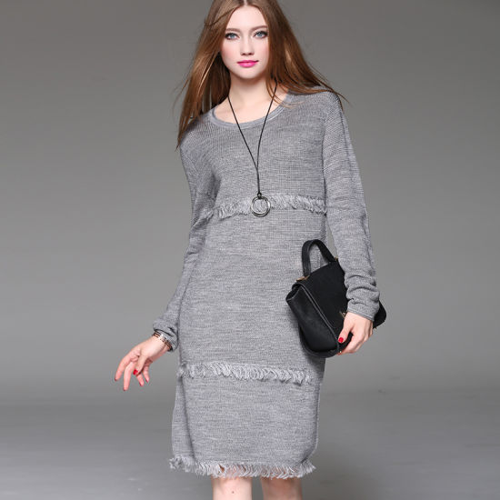 a53e2214b8a 2018 New Woolen Sweater Dress Long Style Round Neck Wholesale