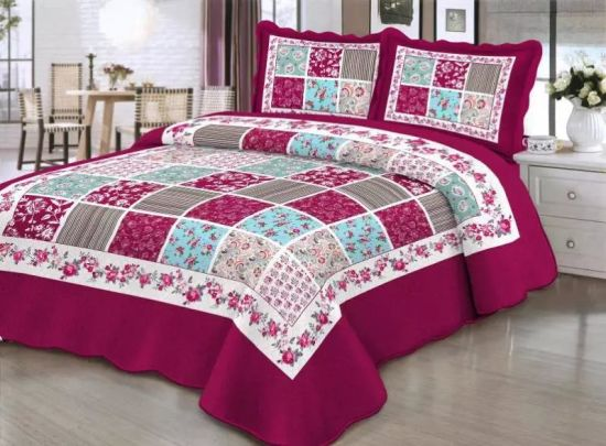 China 3 Piece Garden Floral Vintage Reversible Patchwork Comforter Bed Cover Quilt Set China Quilt Set And Comforter Set Price