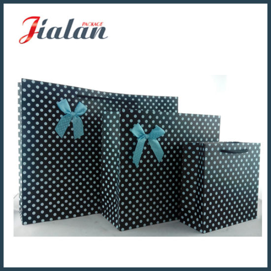 Black Color with Blue Dots Shopping Carrier Gift Paper Bag