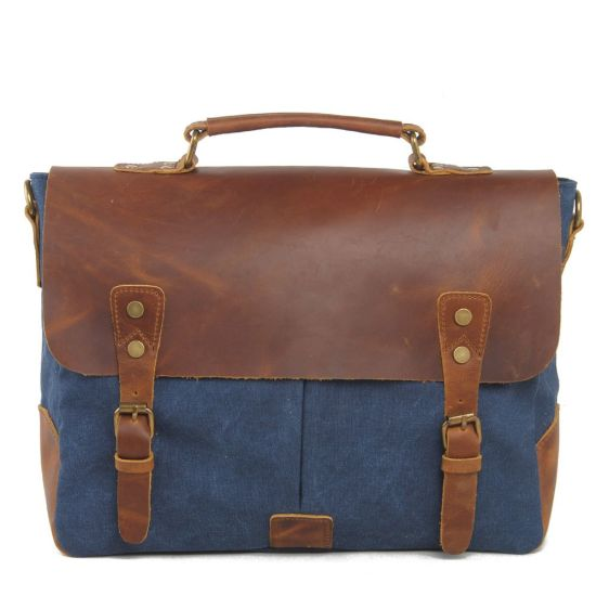 Cowhide Leather Cross Washed Canvas Man Messenger Handbag (RS-6807-1) pictures & photos