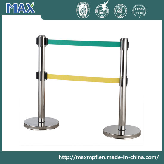 Stainless Steel Retractable Crowd Control Double Belt Post