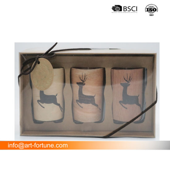 Set of 3 Scented Glass Candle with Decorative Paper in Color Box for The Festival and Home Decor