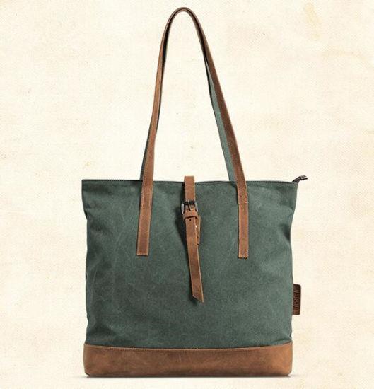 a76bb6ceab9b China Ladies Canvas Leather Hand Bag Fashion Tote Handbag - China ...