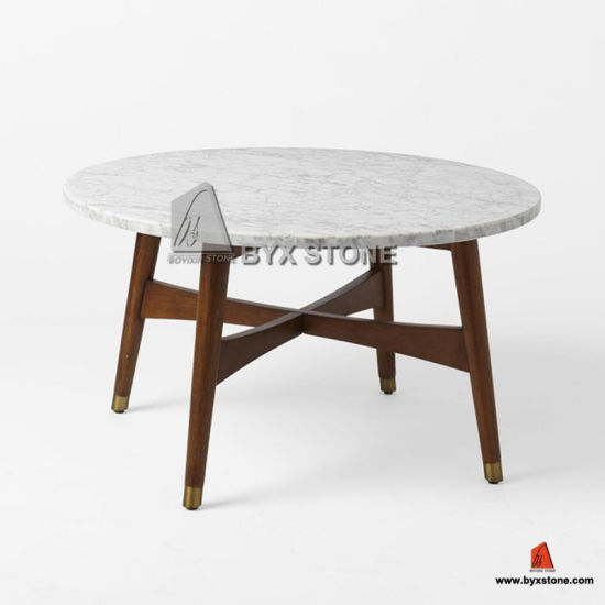 Carrara White Marble Dining Table Tops With Wooden Legs