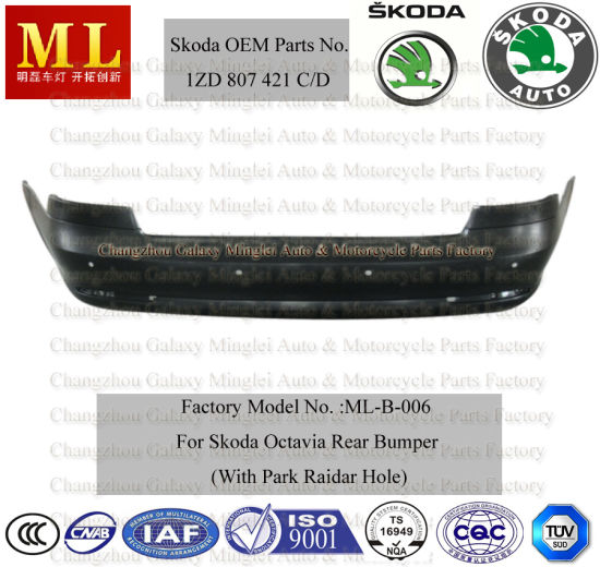 Rear Bumper for Skoda Octavia with Park Raidar Hole From 2009-2ND Generation (OEM auto parts No.: 1ZD 807 421C/D)