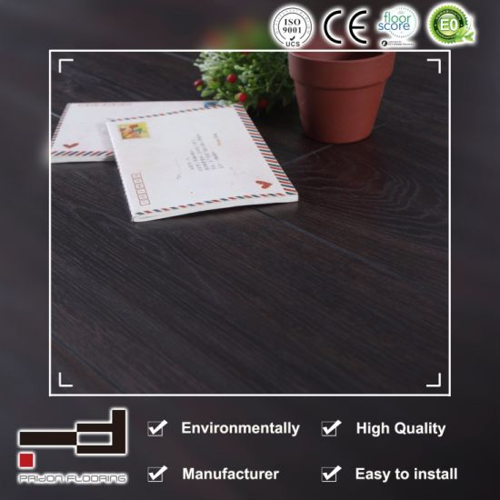 China 12mm Black Oak V Bevelled American Style Laminate Flooring For
