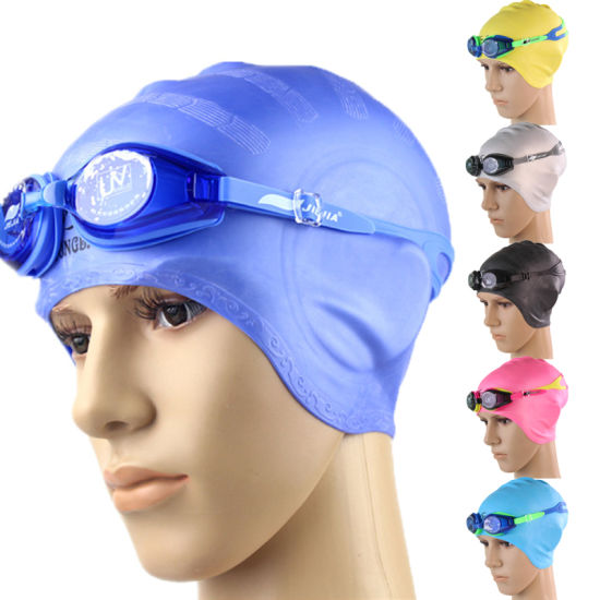 Eco-Friendly Waterproof Stretch Logo Printed Adult Silicone Swimming Cap pictures & photos