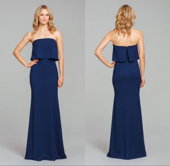 Fashion Blue Chiffon Evening Prom Girl Bridesmaid Dresses Qjm5522