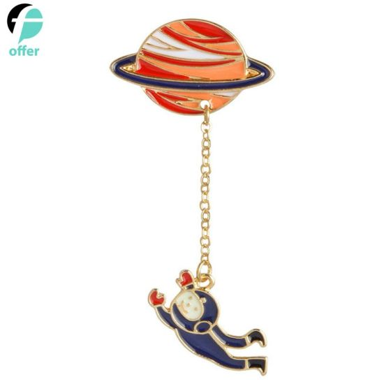 Astronaut Cute Rabbit Pendant Enamel Universe Planet Chain Brooch Collar Pin pictures & photos