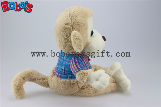 En71 Approved Cuddly Plush Baby Monkey Toy with Blue T-Shirt Bos1161 pictures & photos