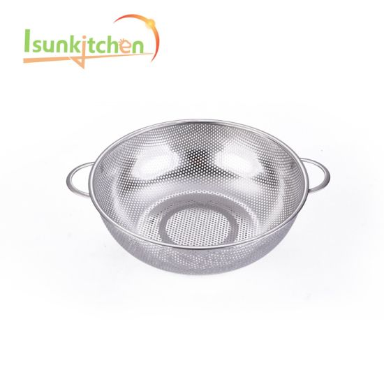 28.5 Stainless Steel Vegetable Fruit Strainer Durable Cheap Colander pictures & photos