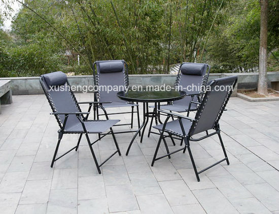 5PCS Leisure Comfortable Garden Outdoor with Glass Table+Chair Set