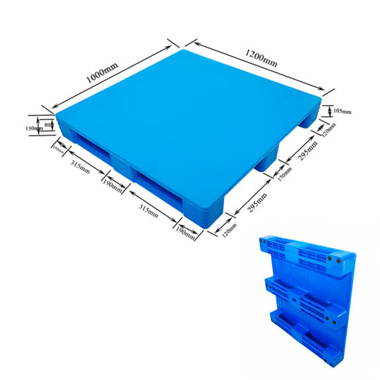 Closed Surface 3 Runner Pure HDPE Plastic Pallets for Warehouse Racking System
