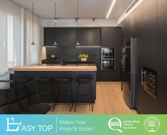 Flat Pack Kitchen Furniture Simple Design Waterproof Plywood Black PVC Kitchen Cabinet