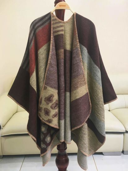 Cashmere Double-Sided Checked Leopard Point Split Thick Scarf