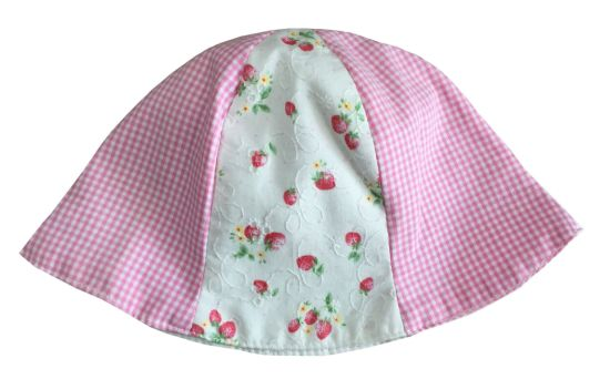 White and Pink 100% Cotton Soft Dobby Babby Bucket Hat