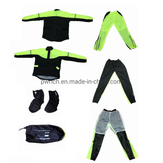Green Fluorescent Color Rain Suit Raincoat Waterproof Nylon pictures & photos