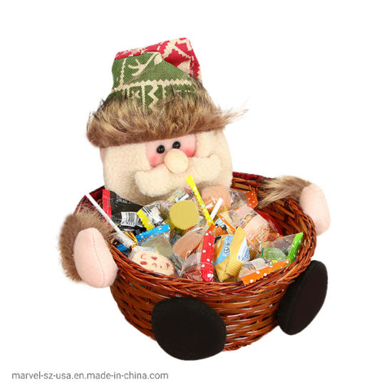 Christmas Candy Storage Santa Claus Basket Gift Festival Home Decoration