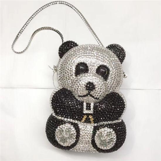 China Handbag Factory Wholesale Panda Clutch Bag Luxury Crystals Purse Evening Wedding Party Bags for Women Eb1098
