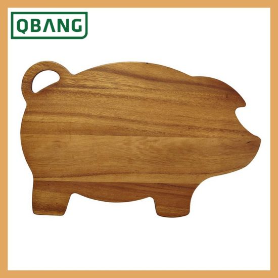 Wholesale Kitchen and Cutlery Accessories Acacia Wood Cutting Board Chopping Block with Juice Groove and Reservoir Irregular Shaped