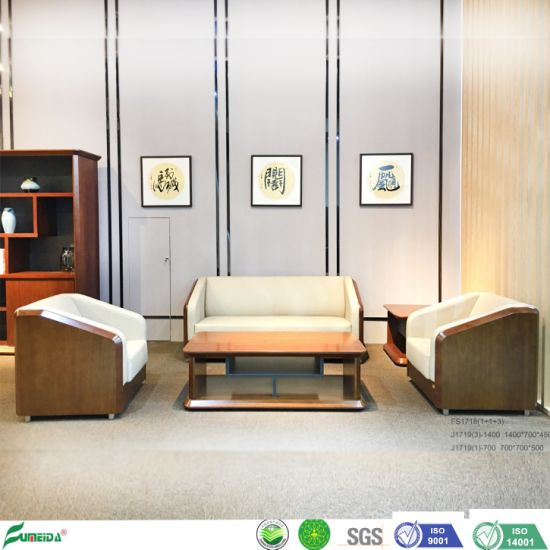 Modern Hotel Office Leisure Combination Living Room Furniture Wooden Frame Leather Sofa Fs1718