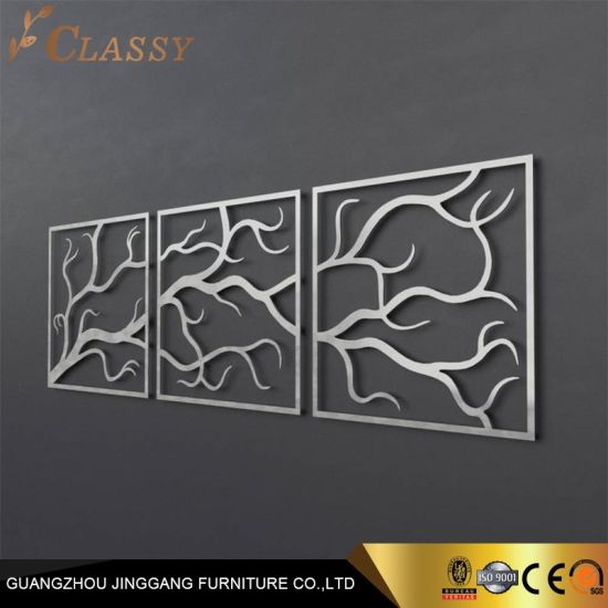 Luxury Stainless Steel Laser Cutting Wall Art Metal Tree Decoration