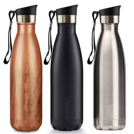 17oz 500ml Vacuum Water Bottle Glass Drinking Cola Shape Stainless Steel Water Bottle with Custom Logo