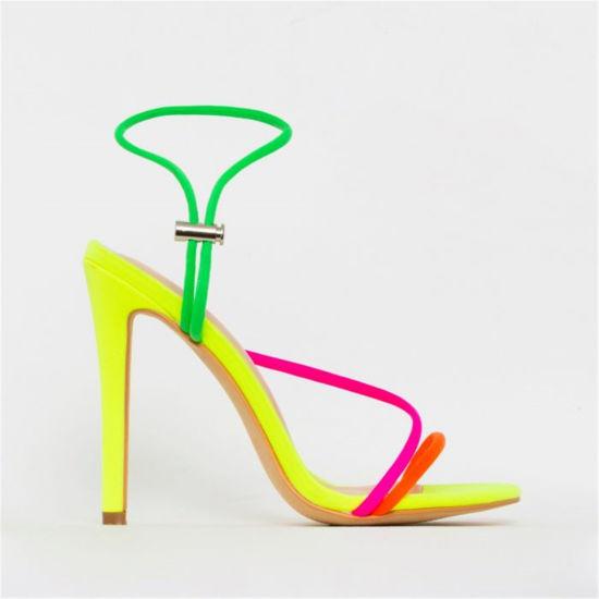 Ladies Sandals Stiletto Heels Colorful Straps Girls Summer Suede Neon Color Shoes