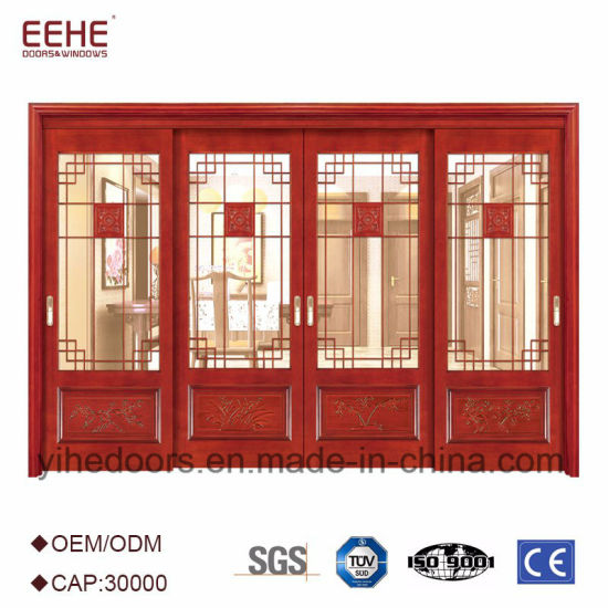 China Internal Top Hung Sliding Wooden Door With Glass Design
