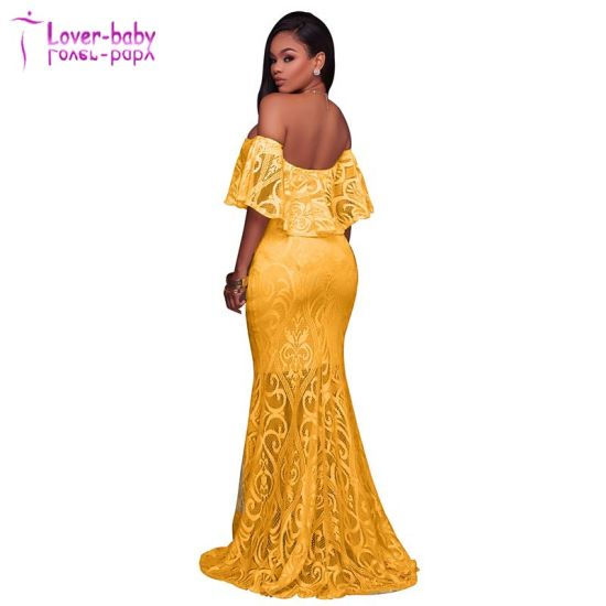 f26a5f96da8af2 Kamila off The Shoulder Ruffle Lace Overlay Yellow Evening Dress L5036