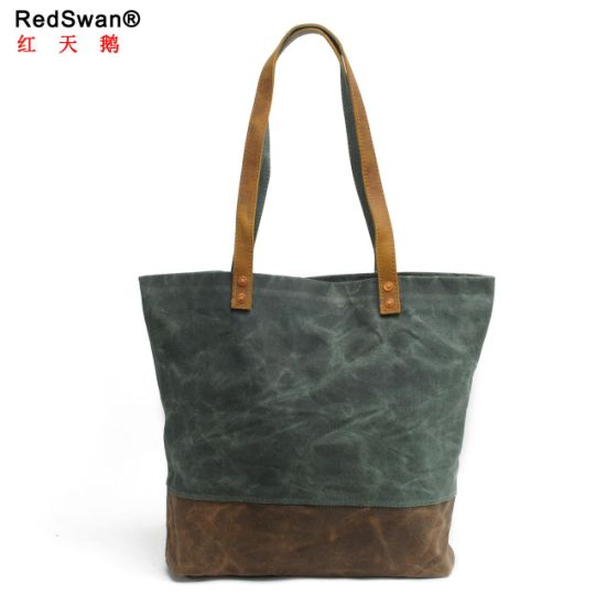 New Design Waterproof Canvas Ladies′s Shopping Bag Leather Women Tote Handbags (RS-62250-P) pictures & photos