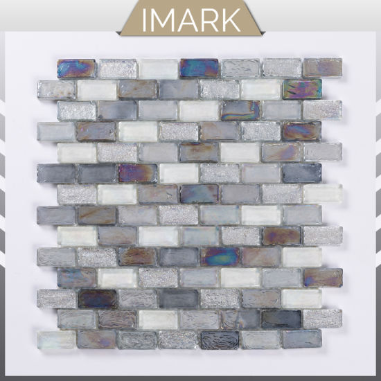 Blend Grey Subway Tile Swimming Iridescent Recycle Gl Pool Mosaic