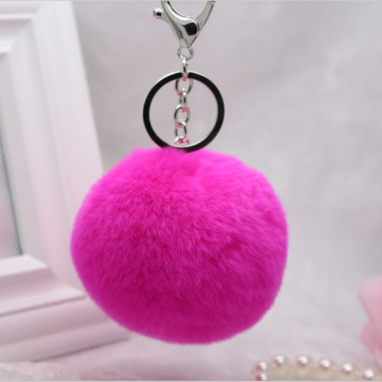 Black Rabbit Fur Pompom Fur Ball Keychain Charms for Bag pictures & photos