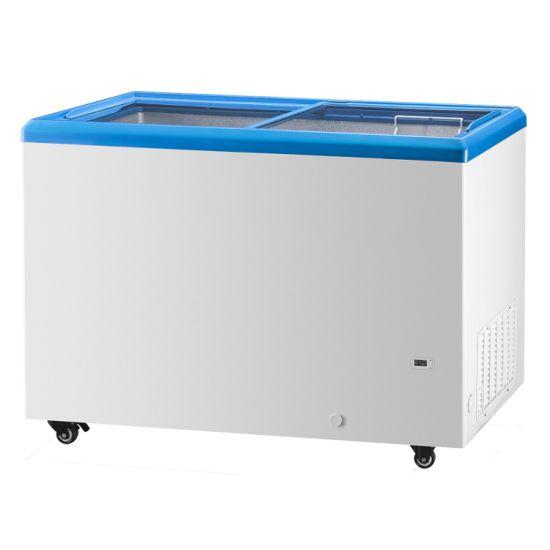 Flat Top Sliding Glass Lids Gelato Ice Cream Showcase Freezer with Ce