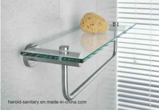 China SUS304 Stainless Steel Bathroom Glass Shelf - China Bathroom ...