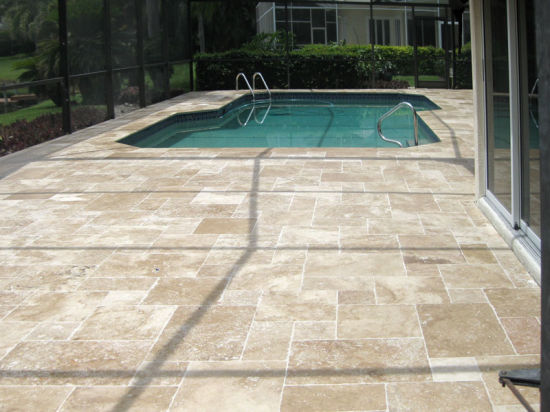 Travertine French Pattern Paving Stone with Bullnose/Edge ...