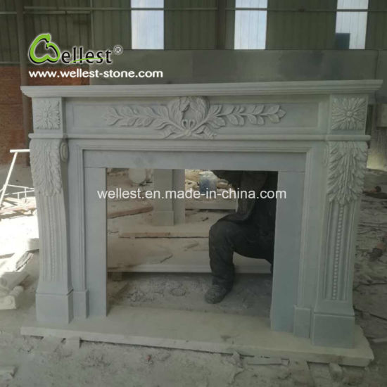 China Popular High End White Marble Fireplace Mentels Mantel