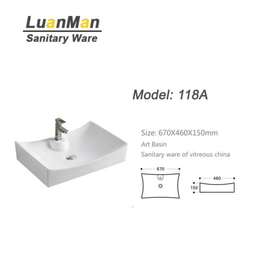 Rectangle Shape Big Size One Piece Toilet Basin With Single Tap Hole 118A
